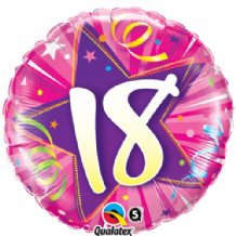 "18 Hot Pink Birthday Foil Balloon (18"") 1pc"